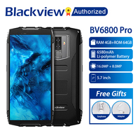 Blackview BV6800 Pro Cell phone 5.7 Smartphone IP68 Waterproof MT6750T Octa Core 4GB+64GB 6580mAh Battery Wireless Charge NFC