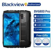 "Blackview BV6800 برو هاتف محمول 5.7 ""الهاتف الذكي IP68 مقاوم للماء MT6750T ثماني النواة 4GB + 64GB 6580mAh بطارية شحن لاسلكي NFC"