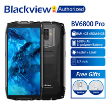 """Blackview BV6800 Pro telefon komórkowy 5.7 """"smartfon IP68 wodoodporna MT6750T octa core 4GB + 64GB 6580mAh baterii ładowanie wireless NFC"""