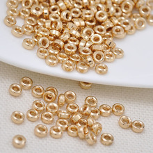 10PCS 3.5MM 4MM 5MM 6MM 24K Champagne Gold Color Plated Brass Round Spacer Beads High Quality Diy Jewelry Accessories