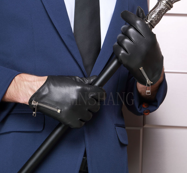 man calharmon cool side zipper real Italy leather black gloves