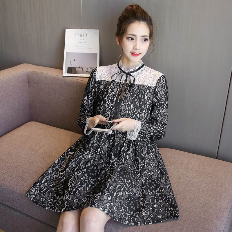 2018 Elegant Maternity Dresses Spring Party Black Lace Patchwork Nursing Dress Breastfeeding Bow Big Hem Pregnant Lace Dress