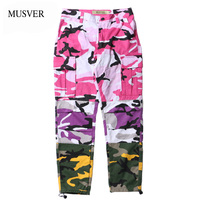 MUSVER 2017 Tri Color Camo Patchwork Cargo Pants Mens Hip Hop Casual Camouflage Trousers Fashion Streetwear