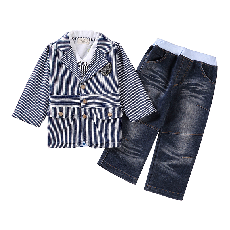 Baby Boys Clothing Set Blazer Children Clothes Suit Stripe Jacket Coat+Shirt+Tie+Denim Jeans Gentleman School Uniform For Kids 2pcs children outfit clothes kids baby girl off shoulder cotton ruffled sleeve tops striped t shirt blue denim jeans sunsuit set