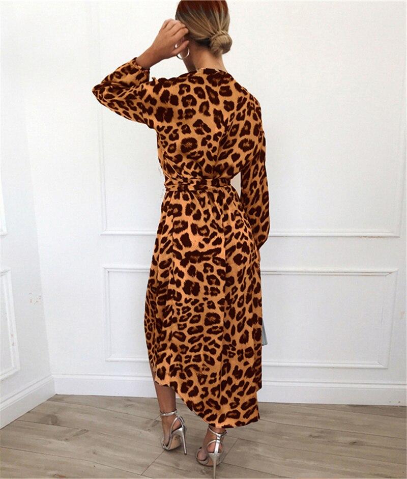Leopard Dress 19 Women Vintage Long Beach Dress Loose Long Sleeve Deep V-neck A-line Sexy Party Dress Vestidos de fiesta 20