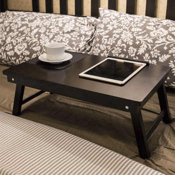 Wooden Laptop Table Home Computer Desk Student Dormitory Bed Table Folding Portable Laptop Table Multipurpose Small Writing Desk