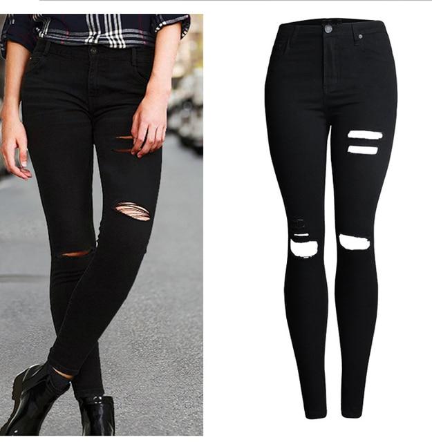 8db3c8d84a14 Sherhure 2018 High Waist Black Skinny Jeans For Woman jeans Ripped Jeans  For Women Skinny Jeans Thin Pants Femme
