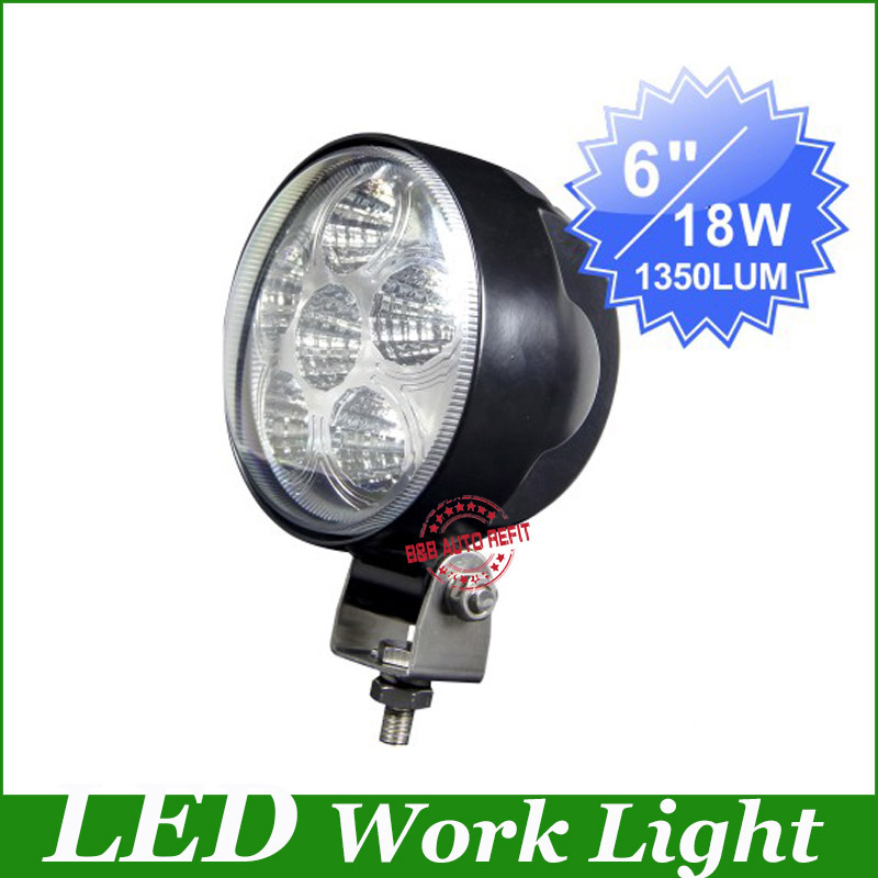 ФОТО Newest,6''1000lm 2pcs/Lot Round Die-cast 18W LED Work Light Spotlight beam For Tractor Offroad Epsitar working Lamps,Freeshiping