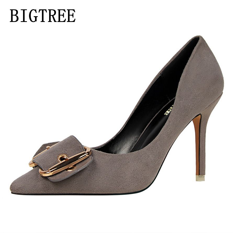BIGTREE Autumn women's high heels fashion shallow mouth pointed velvet buckle woman shoes sexy comfortable banquet ladies shoes bigtree spring autumn sexy banquet women pumps shallow mouth pointed suede pearl hollow 9 cm fine high heels shoes
