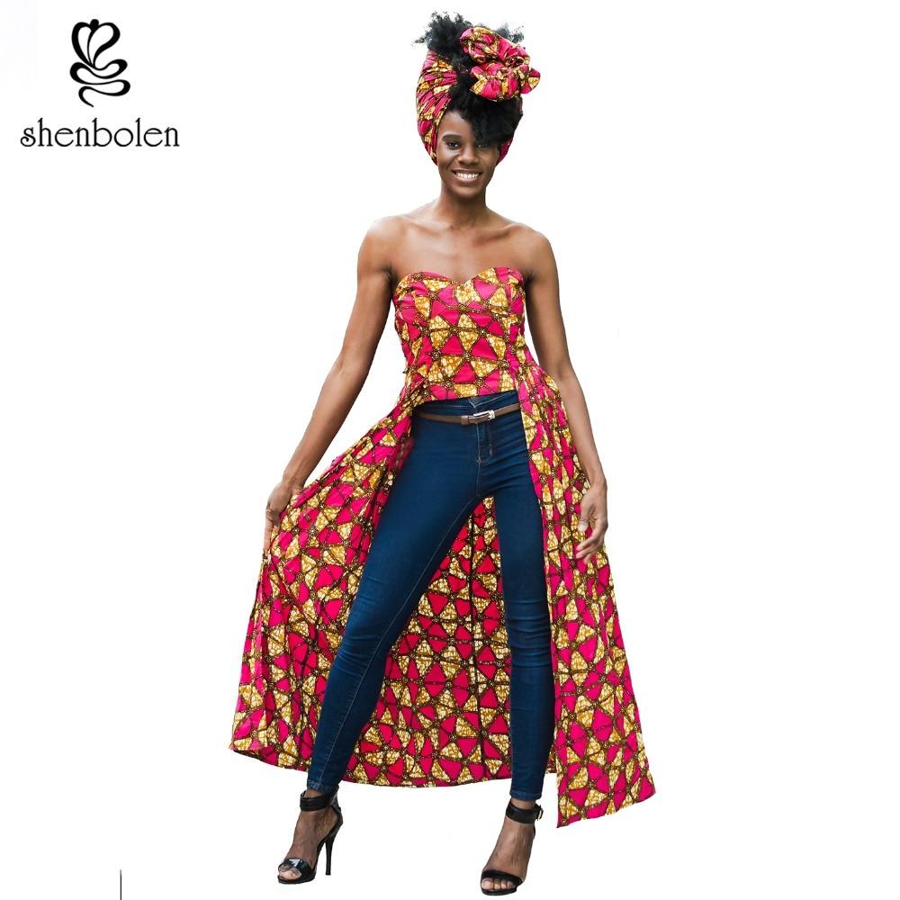 2018 summer African dresses for women Clothing style Irregular off shoulder tops Ankara wax batik cotton print fabric party top