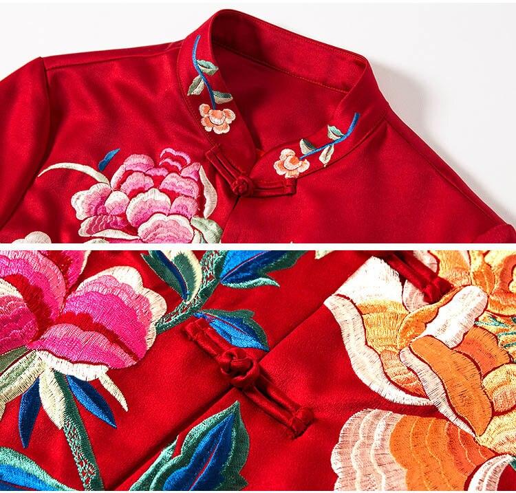 Vintage S Automne Manches Haute xxl blanc Rouge Femmes Veste Femelle Casual Col Floral Manteau Court Brodé Lady 4 Qualité Tops Mandarin 3 ttgUXw