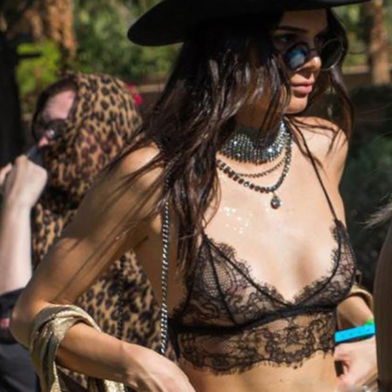 Kendall Jenner Same Style Spring Summer Sexy Lingerie Lace Bralette Crop Top Women's Short Camis Spaghetti Strap Tank Tops Blusa
