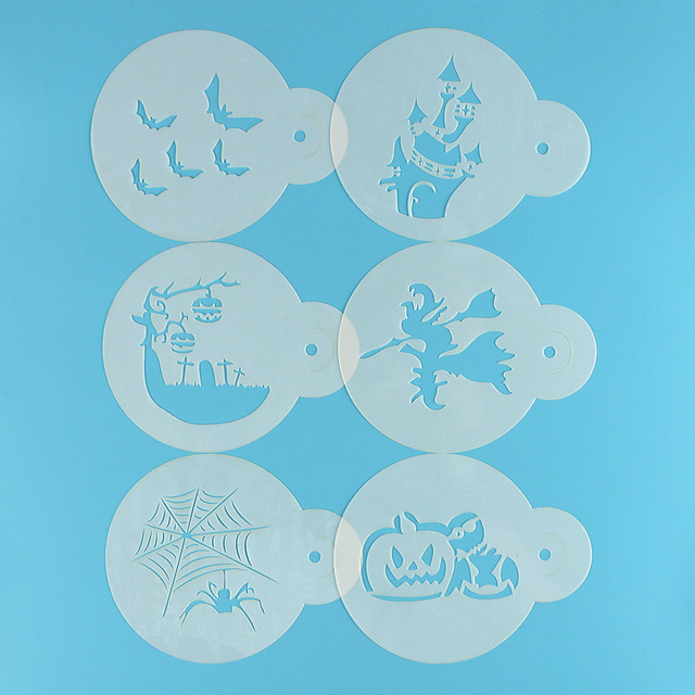 6pc Set Plastic Cafe Foam Spray Stencils Coffee Mold Pastry Tools Pumpkin Bat Shape Mould Cake Decorating Tool Kitchen