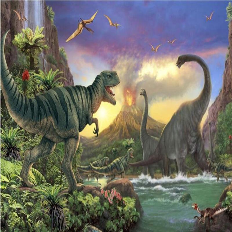 Beibehang Custom 3d Wallpaper Volcanic Eruption Forest Jurassic Dinosaur World Children Room Fresco Background Wall