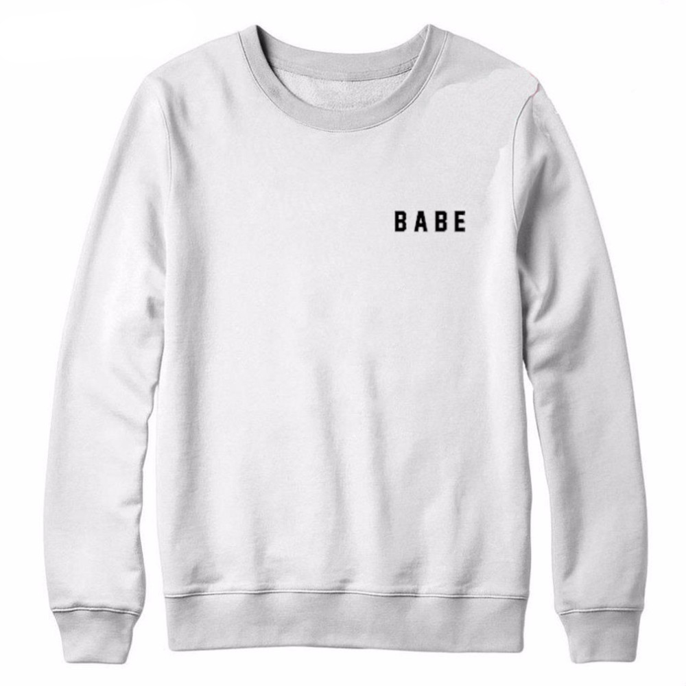 BABE Letter Print Fashion O-Neck Crewneck Sweatshirts Women Casual Tops Long Sleeve Hood ...