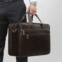 Nesitu Große Schwarz Kaffee Echtem Leder Business Reisetasche 14 ''15,6'' Laptop Männer Aktentasche Portfolio Messenger Taschen M7319