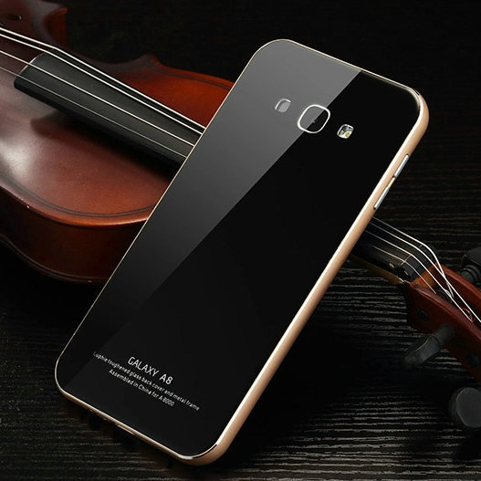 competitive price 0564d 8cff8 US $22.15 |Original Luphie Phone cases For Samsung galaxy A8 case Aluminum  Frame & Tempered Glass Back Cover Set For galaxy A8000 cases on ...