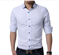 FGGS 2016 New Fashion Brand Men Clothes Solid Color Slim Fit Men Long Sleeve Shirt Men