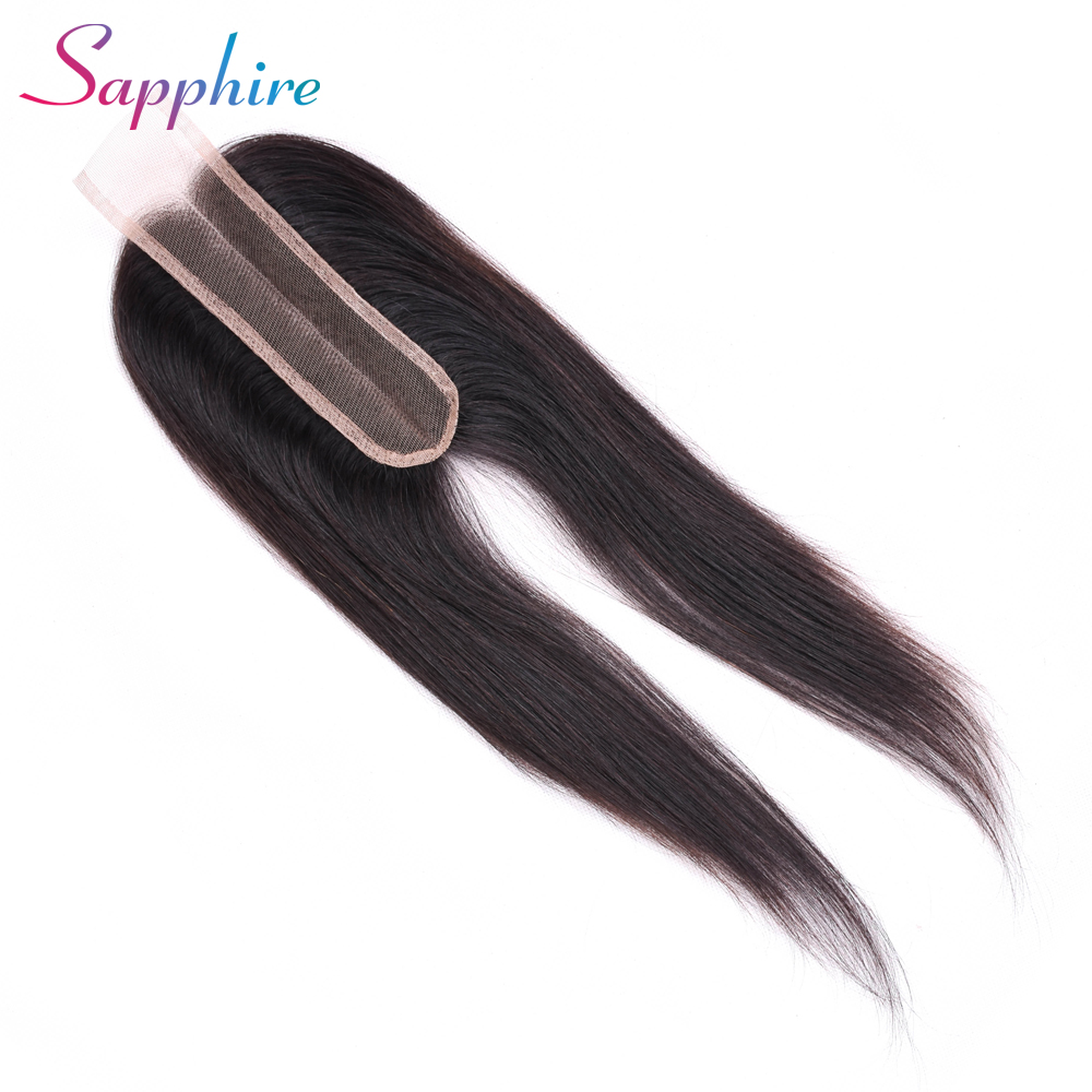 Sapphire Human Hair Closure Brazilian Straight Closure 2x6 Lace Closure 100% Human Hair Bleached Knots With Baby Hair Non Remy(China)