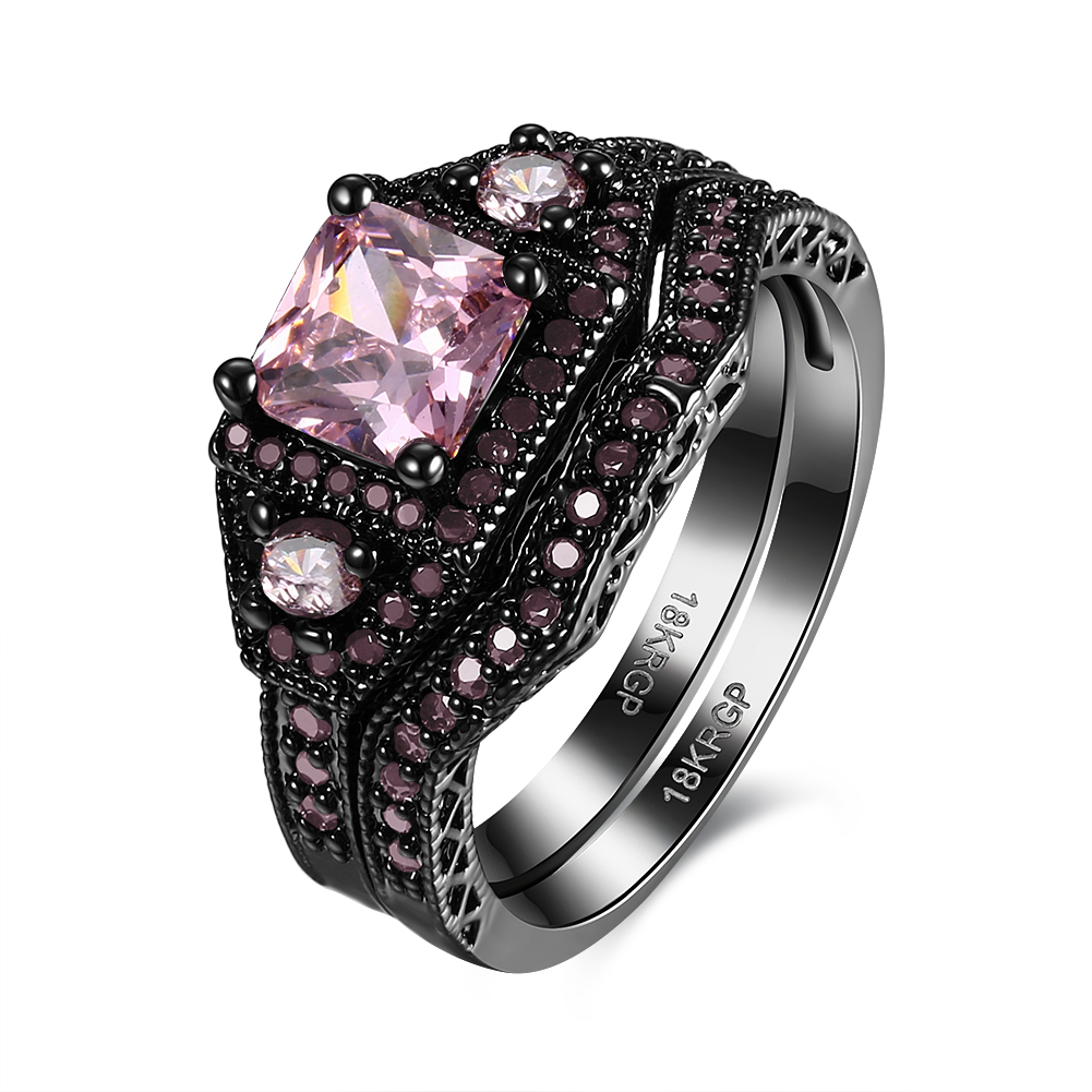 Mystic black Engagement Rings Set For bridal gift cute Women AAA+ pink Zirconia CZ 2017 Wedding Ring Jewelry drop shipping