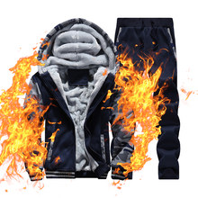 Winter Casual Tracksuit Men Two Pieces Set Warm Thick Hooded Hoodie Jacket+Pants Fintness Sportswear Branded Men Hoodies Sets(China)