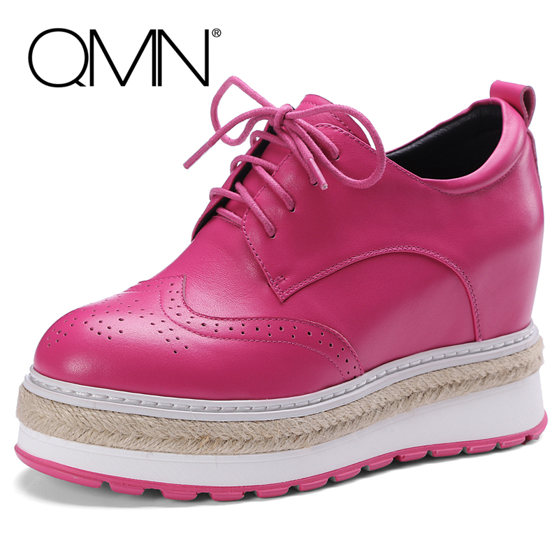 QMN women genuine leather platform flats Women Round Toe Brogue Shoes Woman Height Increasing Espadrilles Flats Creepers 34-42 qmn women brushed leather platform brogue shoes women round toe lace up oxfords flat casual shoes woman genuine leather flats