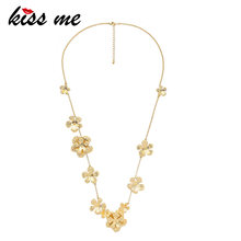 KISS ME Gold Color Alloy Flower Necklace Unique Fashion Women Long Necklace Brand Luxury Jewelry 2019(China)