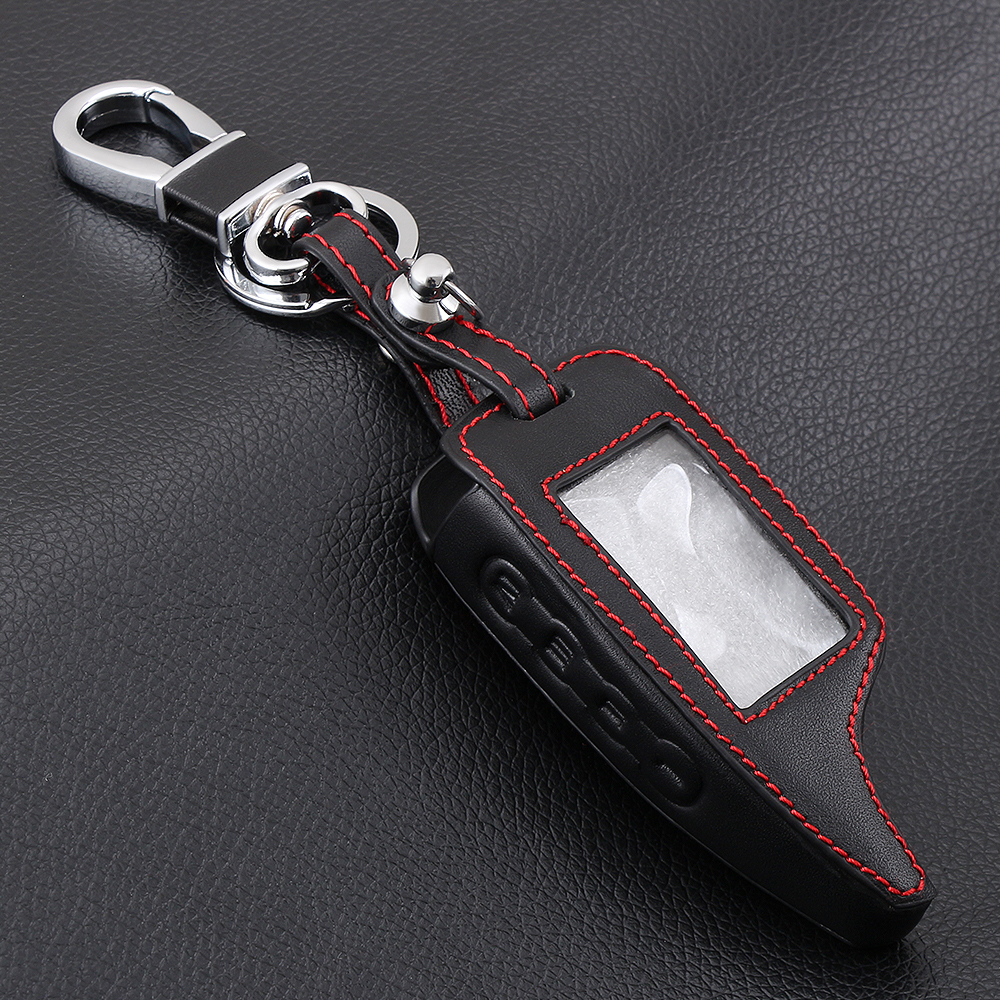 Image 3 - AndyGo Leather Alarm Remote Keychain Case for Scher Khan For Scher khan Magicar 5 6 M5 M6 Cover Holder-in Key Case for Car from Automobiles & Motorcycles