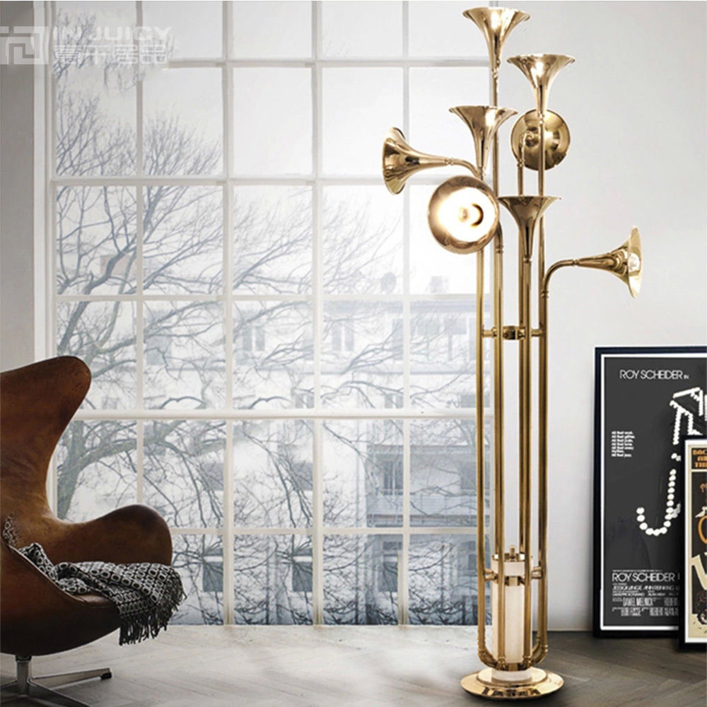 Gold Floor Reading Lamp Us 824 6 5 Off Europea Modern E14 Led Iron Trumpet Gold Hotel Lighting Restaurant Bedroom Floor Lamp Decor Cafe Bar Store Coffee Stand Light In