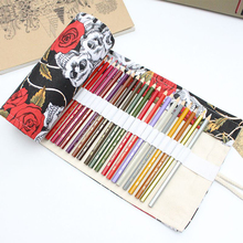 Pencil Case 36/48/72 Holes Portable Canvas Roll Up Skull Pen Storage Students Stationary Pouch For Painting School Supplies