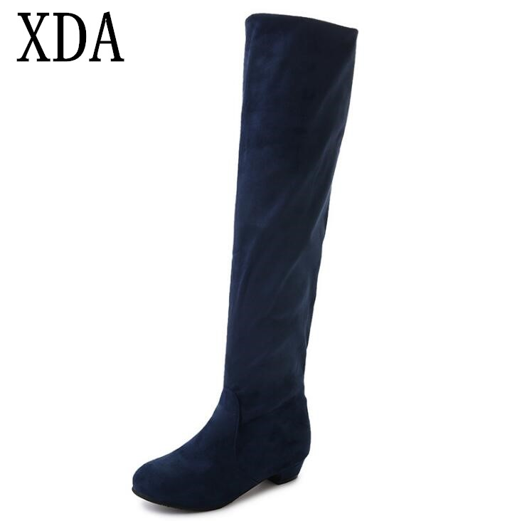 XDA 2018 Martin boots new Women Suede Sexy Fashion Over Knee Boots Sexy Thin High Heel Boots Women Shoes free shipping