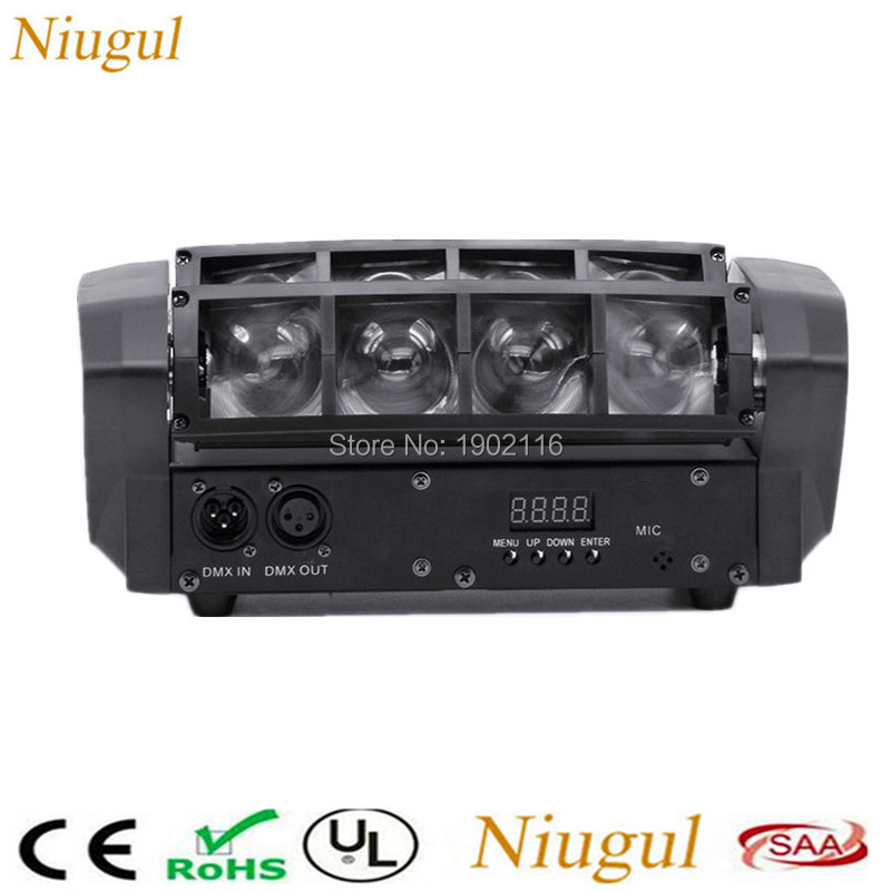 Niugul 8x10W Led Spider Light/DMX512 stage effect lighting/RGBW led Beam Scanner Lights Sound control LED DISCO home party lamps 2pcs lot rgbw double head 8x10w led beam light mini led spider light dmx512 control for stage disco dj equipments free shipping