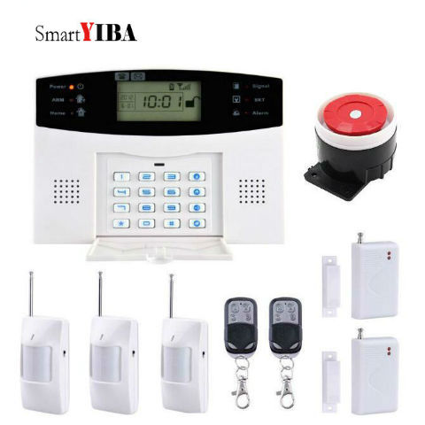 SmartYIBA Home Security PIR Wireless GSM SMS Alarm System House Security Alarm System With Panic Button PIR Motion Alarm wireless gsm alarm system for home security with pir door sensor sos panic button siren alarm muli language dhl free ship k3e