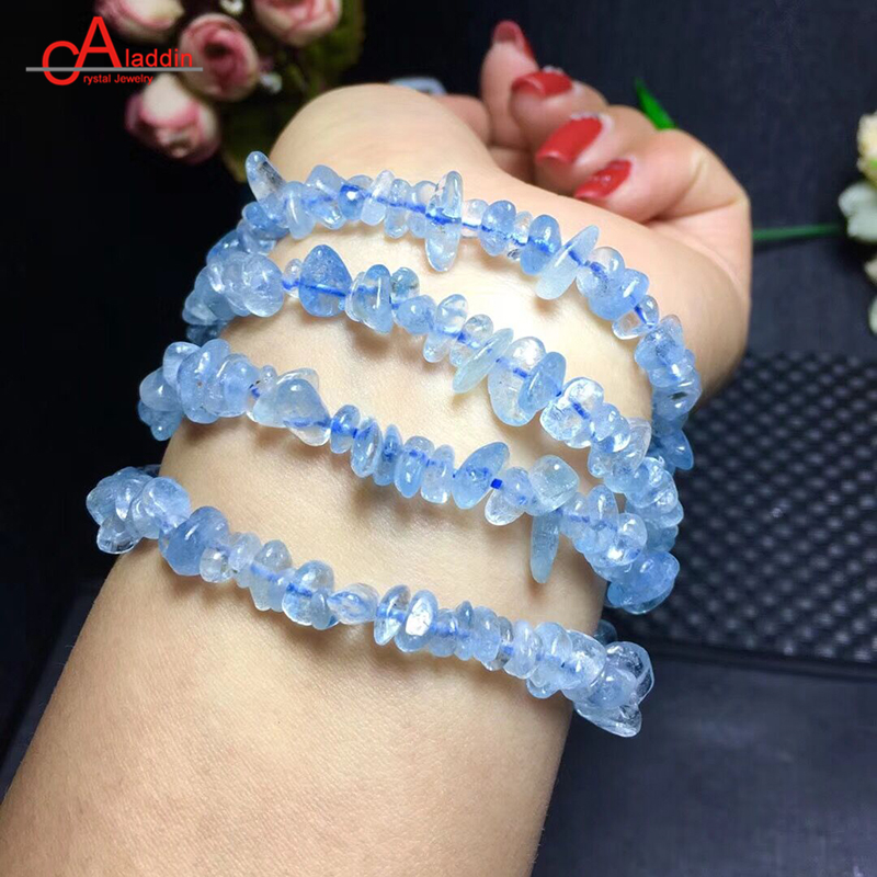 Alaadin Natural Aquamarin Original Gravel Stone Bracelet Jewelry Crystal Sea Blue Bangles For Mother/Girlfriends gift Add Charm