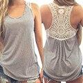 De gran tamaño de la camiseta de las mujeres Del Cordón Del Verano Chaleco Superior cómodo mujeres camiseta Blusa Mujer Tops Camiseta S ~ XXXL TONSEE