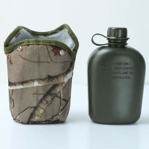 Hot 860ml Water Bottles Camouflage Cloth Army Green Plastic Sports Water Bottle for Survival Kitchen Home Kettle Outdoor Sports Karachi