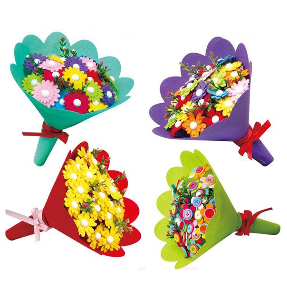 Kids DIY Handmade Flowers Colorful Buttons DIY Craft Felt Bouquets Flowers Kit Set Preschool Toys For Children Gift Random