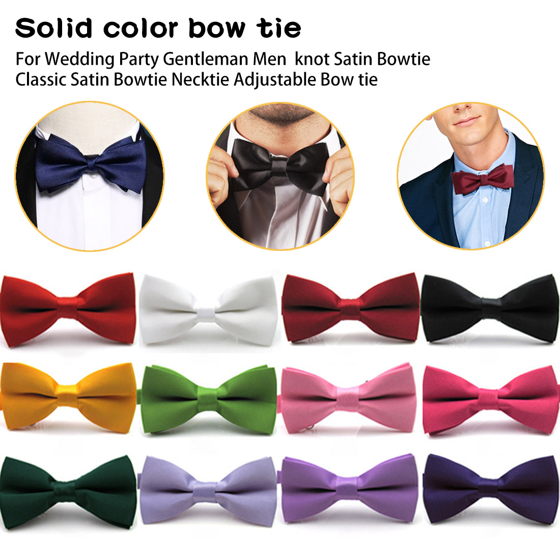 Gentleman Men Classic Satin Bowtie Necktie Pure Pocket Square For Wedding Party Easy Style Black Red Pink