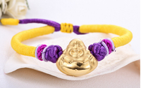 Pure Solid 3D 24K Yellow Gold Smiling Buddha String Bracelet 1.82g