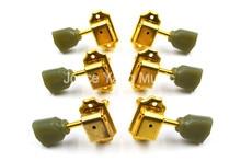 Gold Retro Tulip Trapezoid Jade Green Button EPI GB Guitar Tuning Pegs Tuners Machine Head 3L+3R Free Shipping
