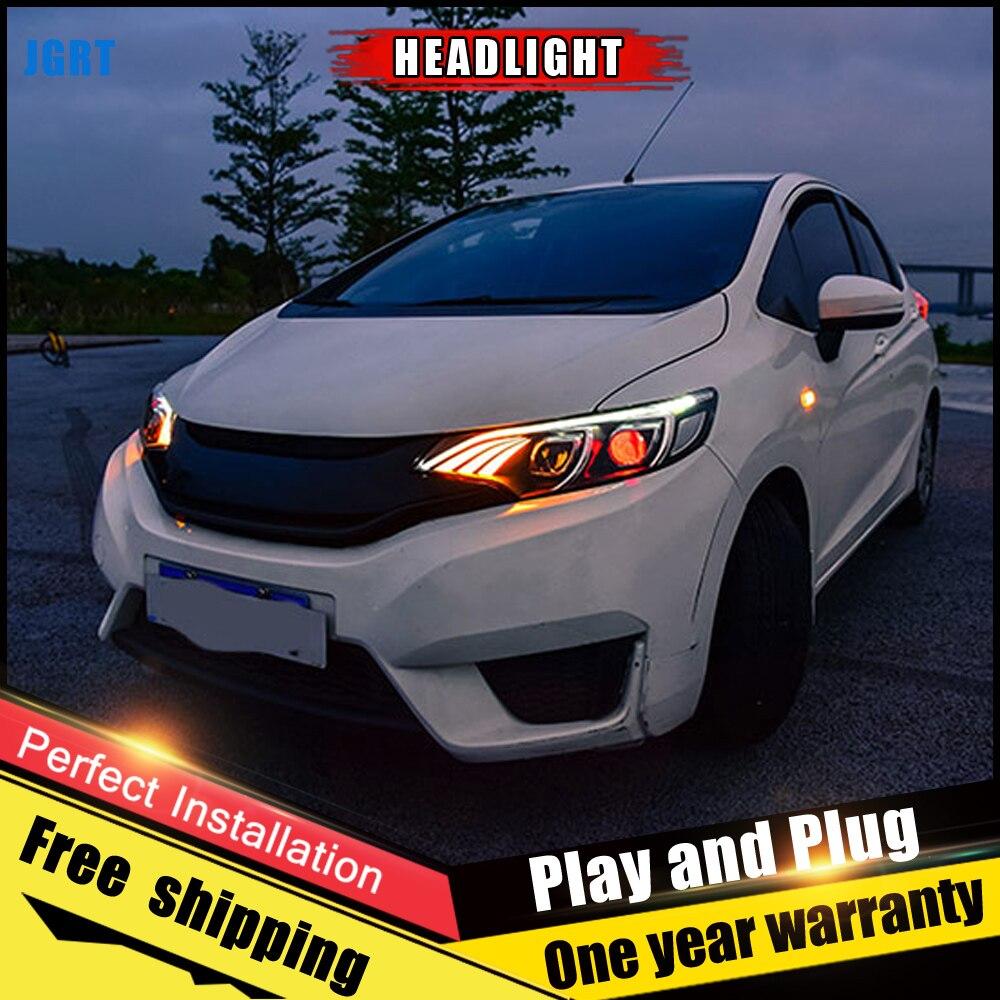 2PCS Car Style LED headlights for Honda fit 2014-2017 for Honda fit head lamp Lens Double Beam H7 HID Xenon bi xenon lens