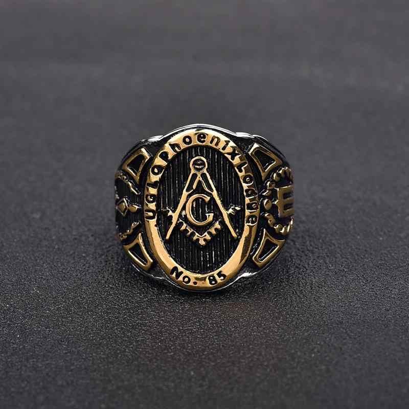 Jiayiqi, винтажное Золотое масонское кольцо-печатка 316L, черное кольцо из нержавеющей стали для мужчин, ювелирные изделия в стиле панк, крутые мужские байкерские вечерние кольца, подарки