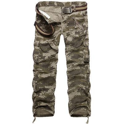 Buluomu 2018 Mens Pants Korean Version Loose Military Mens Casual Trousers Multi-pocket Washed Straight Tube Overalls