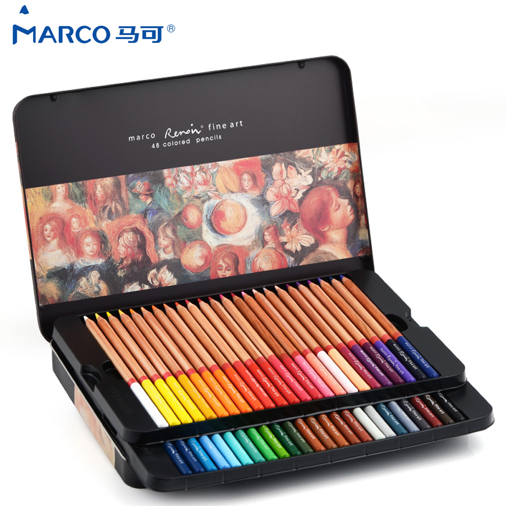 Marco Reffine Prismacolor Oil Pencils 24/36/48Colors Oily Colored Pencils For Art Sketch Drawing School Office Supplies