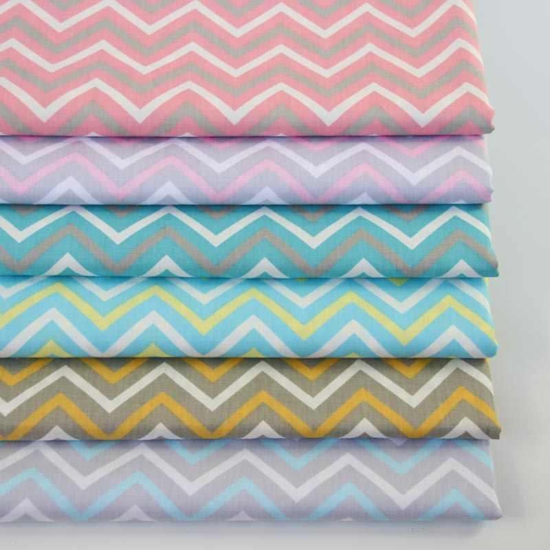160cm 50cm Cotton Cloth Gray Pink Aqua Brown Blue Slim Chevron Fabric For Diy Crib
