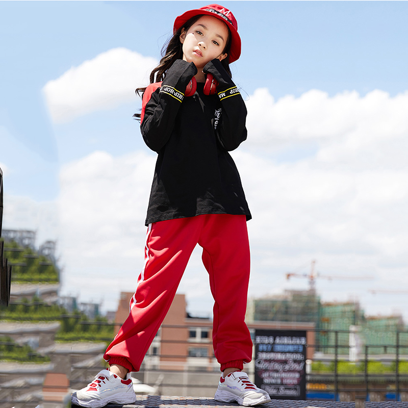 Kids Hip Hop Dance Costumes Black Long Sleeve Tops Red Pants Boys Girls Clothes Street Dance Clothing Show Stage Outfits DN2519