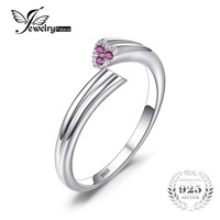 JewelryPalace 925 Sterling Silver 2 Heart Love Created Sapphire Wrap Stackable Ring Adjustable Rings for Women Fine Jewelry