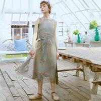 LYNETTE'S CHINOISERIE Summer Women Elegant Embroidery Flower Silk Light Gray Sleeveless Tank Dresses