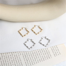 Europe America Hyperbolic Vintage Bamboo Square Simple Hoop Earrings Fashion Jewelry-LAF