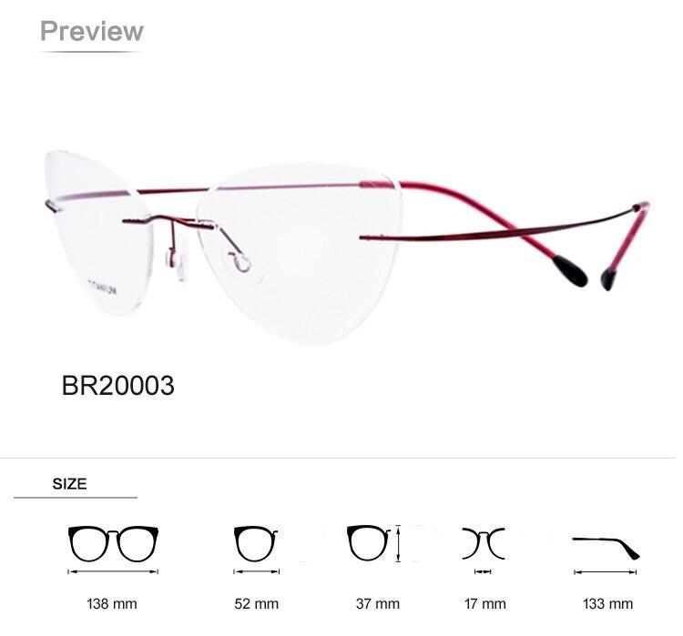 2aeafb9a7bb Titanium Ultra light No Screw Cat Eye Rimless Prescription Glasses Frame  Women Eyeglasses Myopia Optical Frames Eyewear 2017 -in Eyewear Frames from  Apparel ...